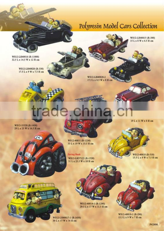 Polyresin yellow cartoon cars model