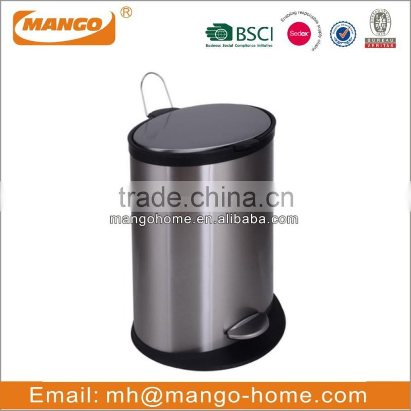Round powder coating waste step bin with soft close lid