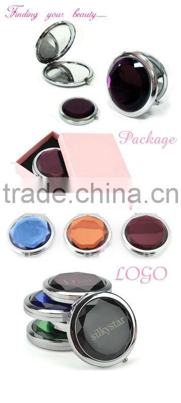 Hot sale Round folding crystal pocket mirror /cosmetic mirror