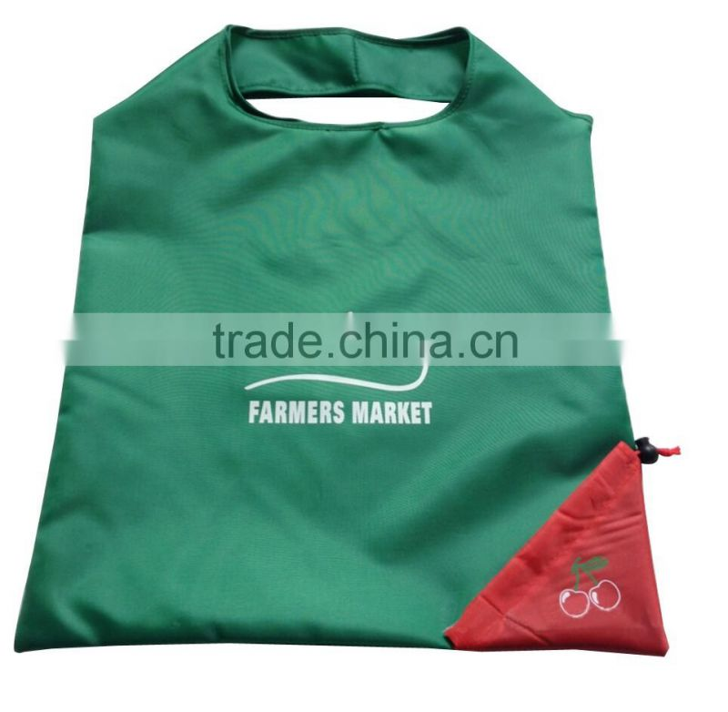 green eco 190 T strawberry shape foldable polyester bag