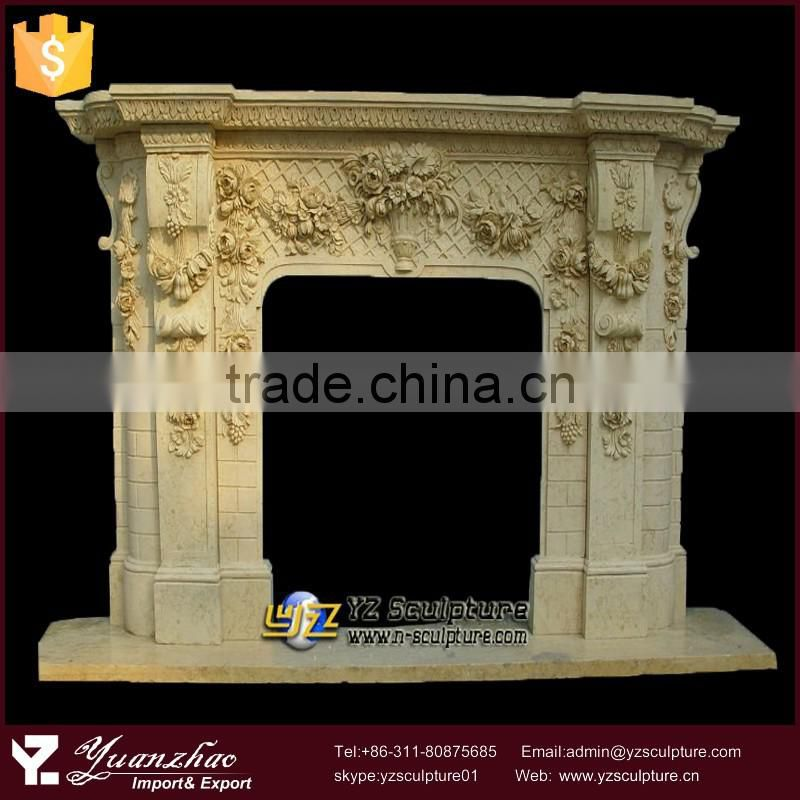 yellow flower carving stone fireplace mantel for home decoration