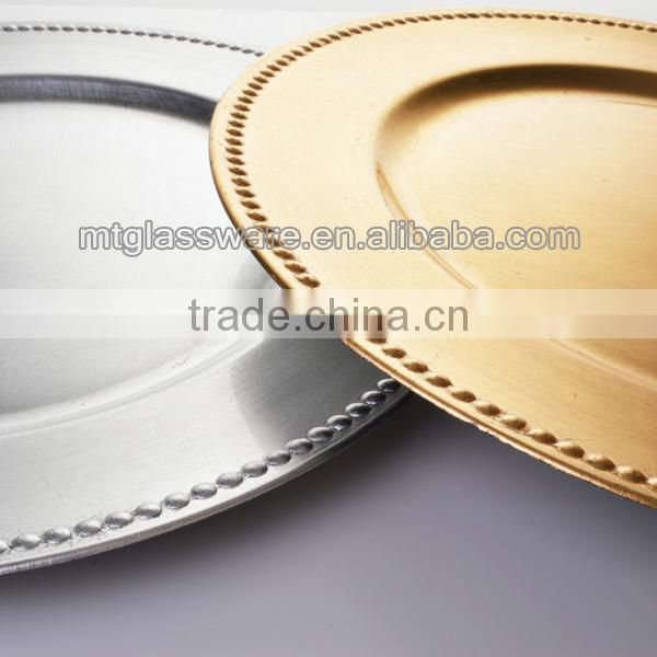 FDA,PP,Eco-friendly 43cm gold plastic disposable charger plate