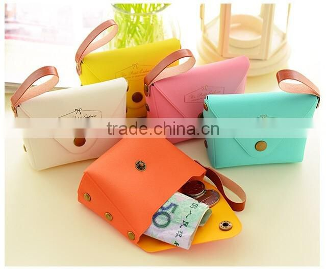 Hot sale Cute candy colored small coin purse PU Wallets creative kids hand mini bag