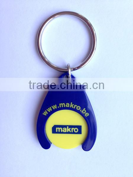 New Design Plastic Smile Face Coin Holder Keychain