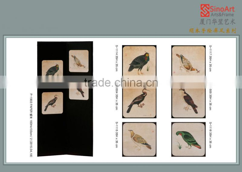 Hand-painted Tranditional Chinese Bird Art Screens