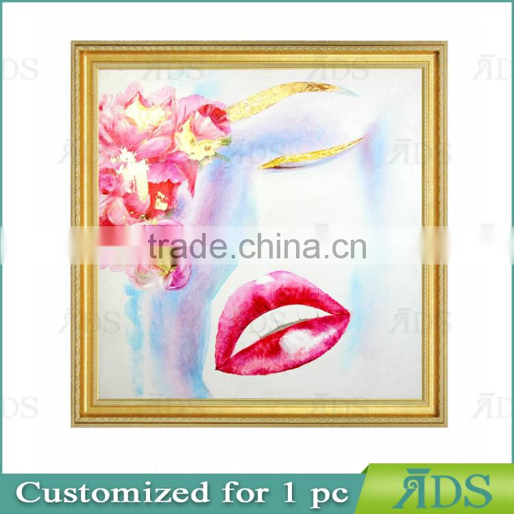 High quality lips oil painting with Gold Foil