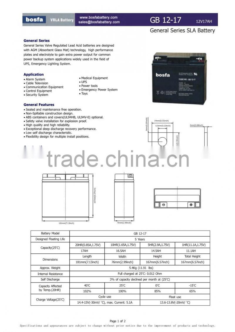 6-fm-17 sealed maintenance free storage battery