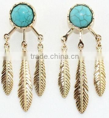 Natural Turquoise Stone Earring, Natural Stone Earring