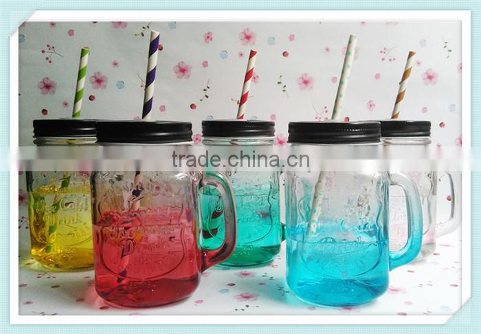 glass drinking mason jar with handle and lid
