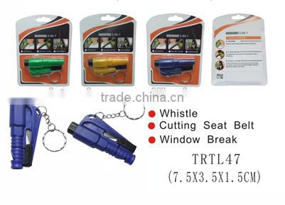 3 in 1 body guard with whistle & seat belt knife and window break