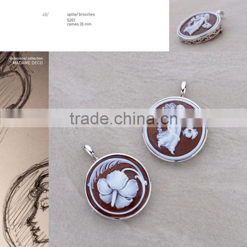 Wholesale 925 Sterling Silver Elegant Middle East Handmade Cameo with Pearl Earrings Made in Italy O905 cameo 11mm