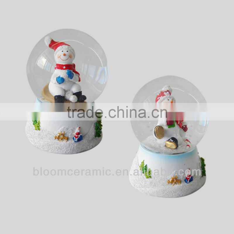 Bloom holiday resin snowman waterball