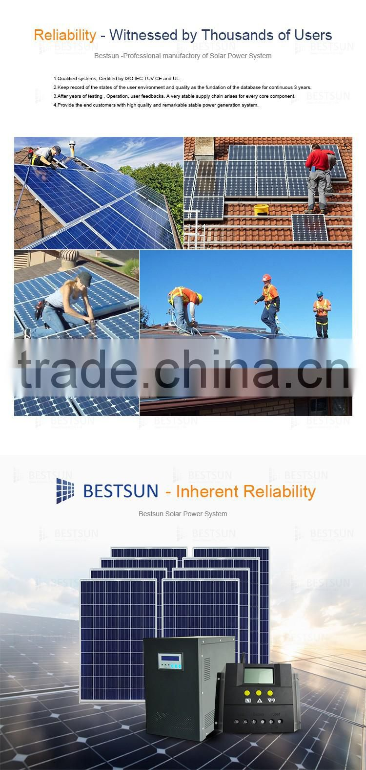BESTSUN 8000W Small House Grid Tie 8Kw Indoor Solar Energy Power System