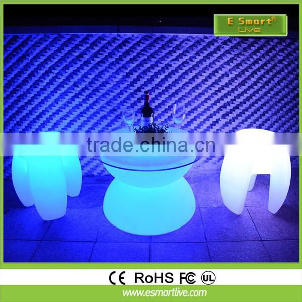 Hot sales 2016 rotaional PE mould led flashing adjustable bar stools