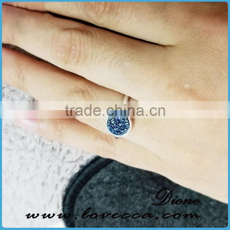925 natural stone silver ring wholesale 8mm agate rings