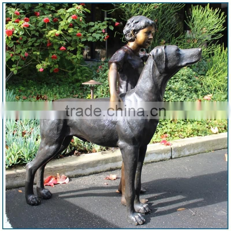 Western Cast Brasslife size boy and dog Statue for home decoration
