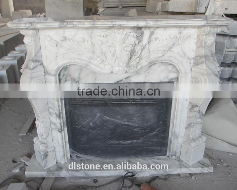 Arabescato Europe Style White Marble Gas Fireplace or Electric Fireplace