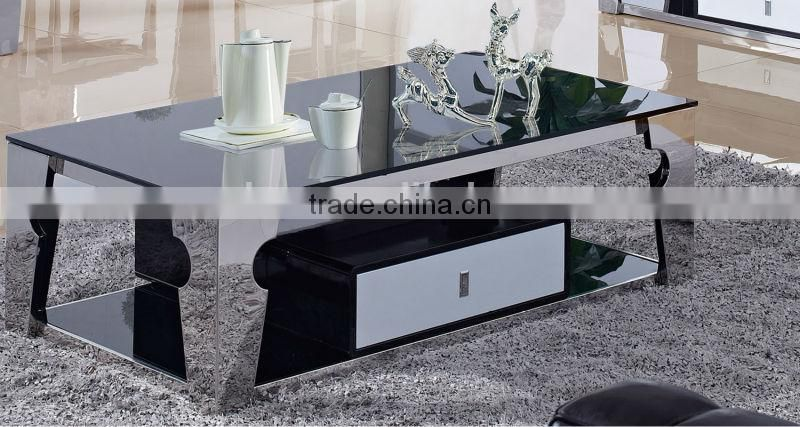 2015 hot selling Italian design stainless steel glass top coffee table B6688