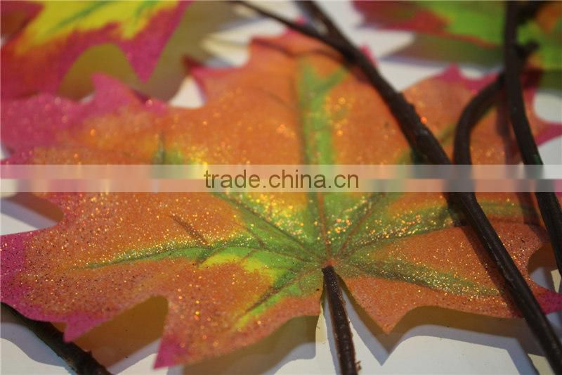 shinning artificial maple leaves fabric leaf branch