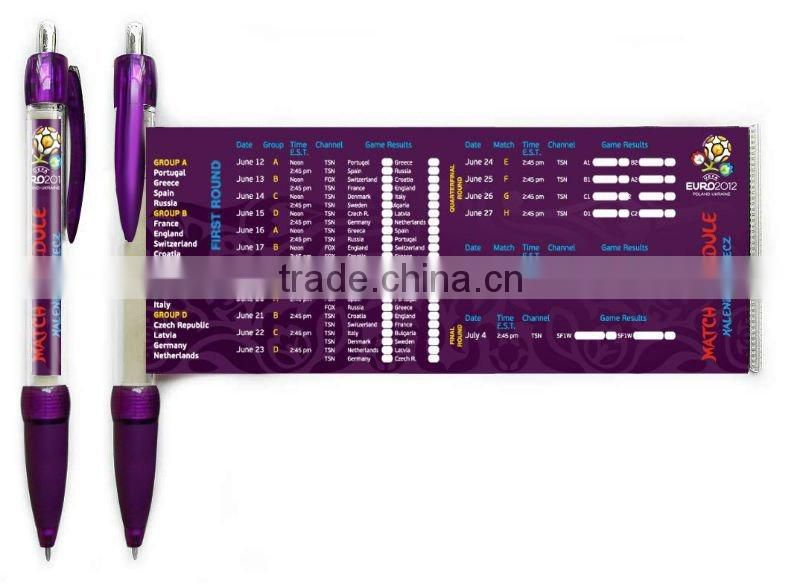 promotional banner pen with pull out paper , advertising customized banner pen