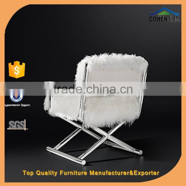 modern club lounge recliner chair with strong stainless steel frame