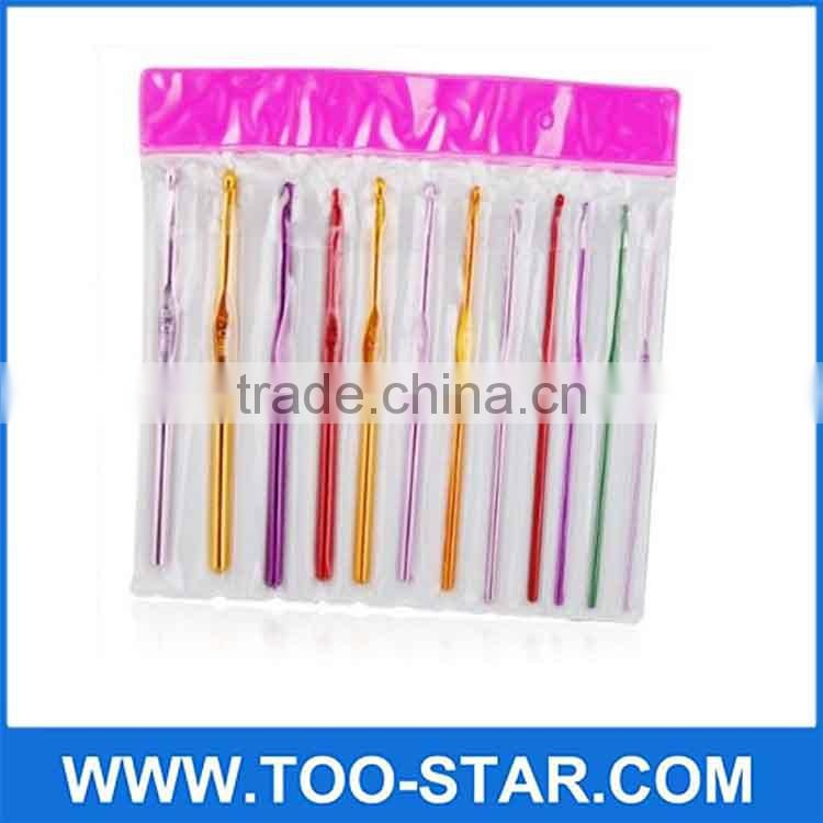 Multicolor Metal Handle Aluminum Crochet Hooks Knit Needles Crochet Hooks
