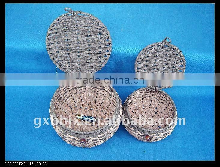 Brown round paper rope woven iron frame small kid box