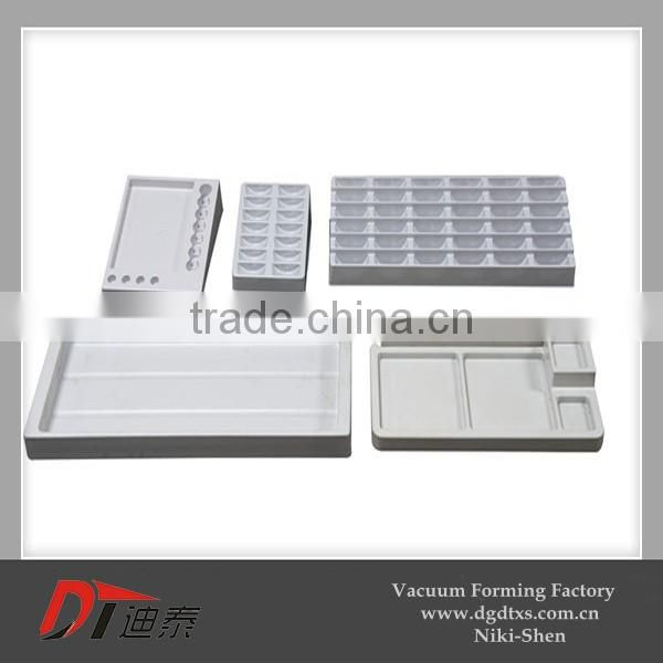 White PVC display lining rack by vacuum forming