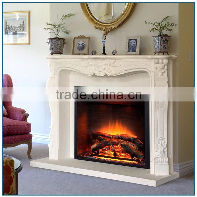 Indoor Hand Carved White Marble Fireplace Mantel with Vintage Flowers