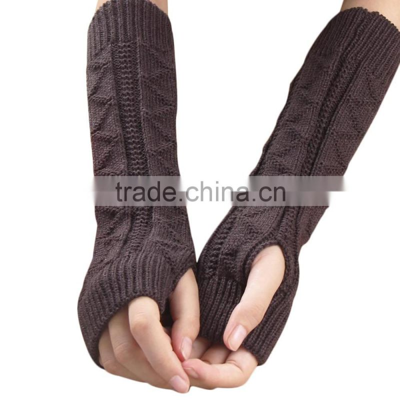 2016 New Solid Color Long Mitten Gloves Women Knitted Fingerless Winter Gloves