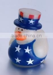 Promotional American flag printing floating rubber baby bath duck