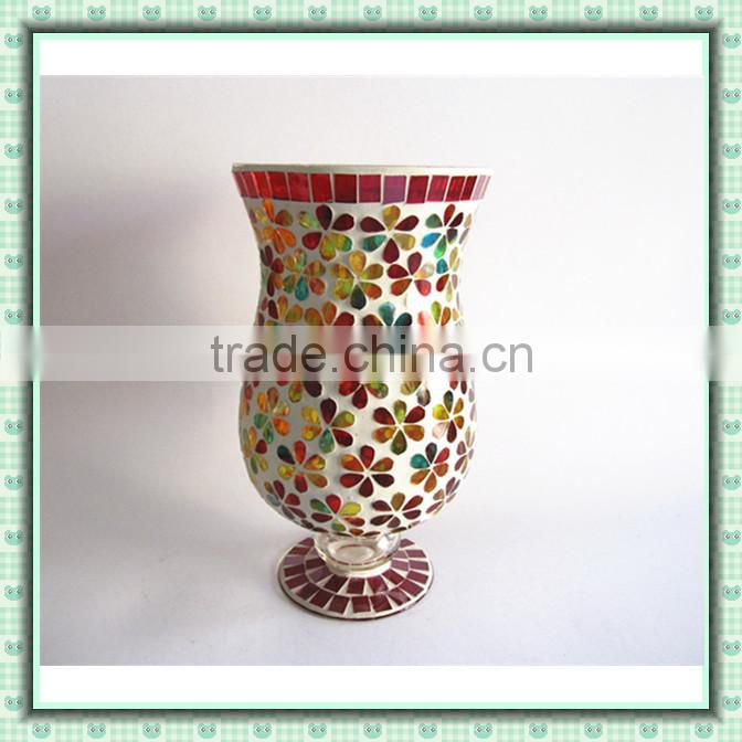Holiday Decor Iridescent Colored Mosaic Hurricane Patterned Vase Tall Candle Holders for Weddings