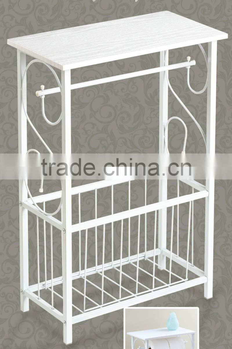 RH-4961New Metal Scroll Design Bathroom Magazine Storage Table Organizer