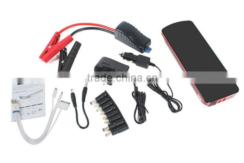 800A peak current 18000mah emergency power bank portable car jump starter with smart car jumper cable