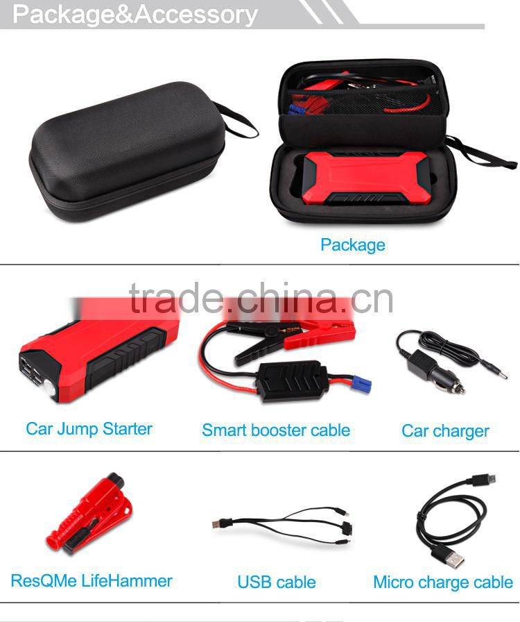 New 2015 car jump starter 12000mAh with ResQMe lifehammer auto power bank with doubel USB