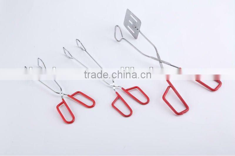 OASIS Food tong iron with powder coating plastic coating handle