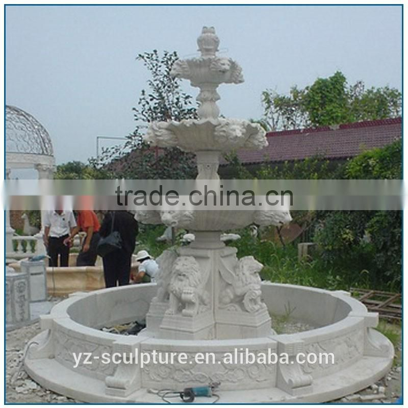 marble water fountain with lion statue for sale