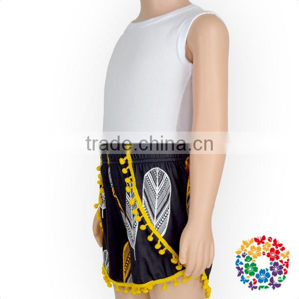 Kids Vintage Black White Feather Yellow Pom Pom Shorts