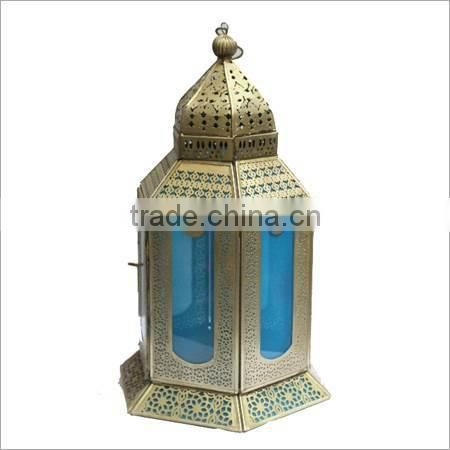 sky blue colour glass diamond lantern