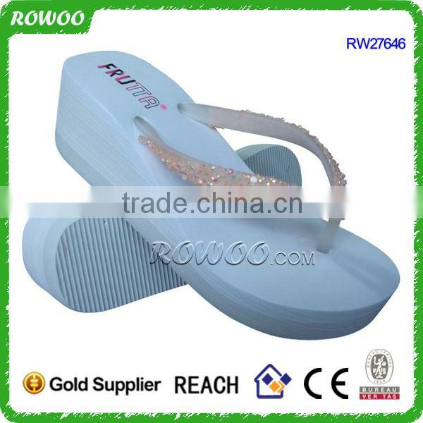PVC All Season high heel summer slippers with diamond for girl