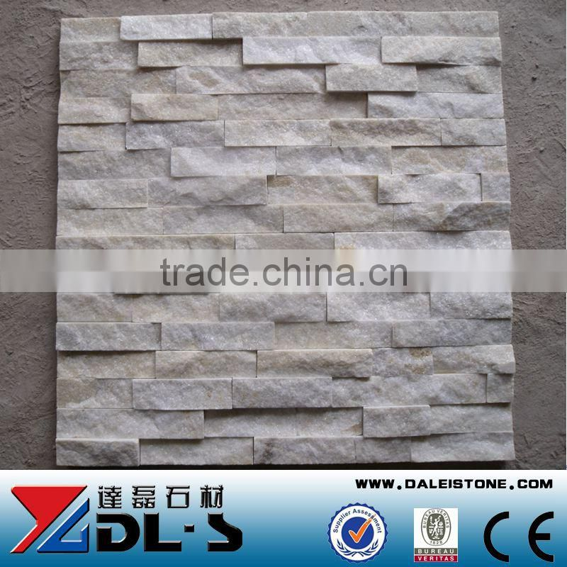 Natural Rough Crystal White Quartz Wall Cladding Stone Exterior Wall Tile