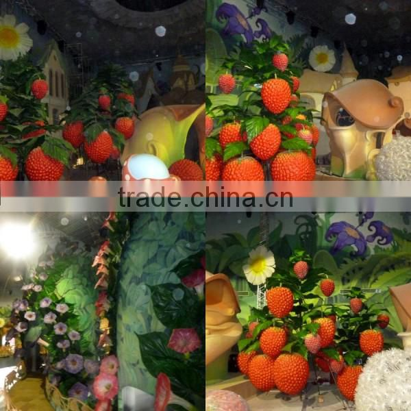 China wholesale manufacturer make PU fake fairy tale world decorative artificial huge raspberry fruits for decoration