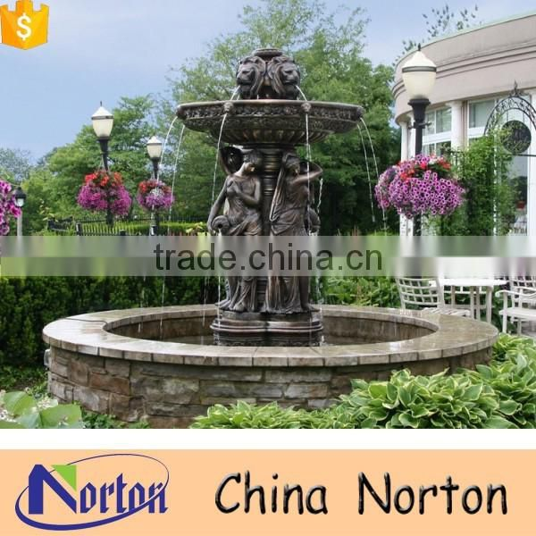 Casting lotus leaves and lady bronze italian garden fountain NTBF-M327A