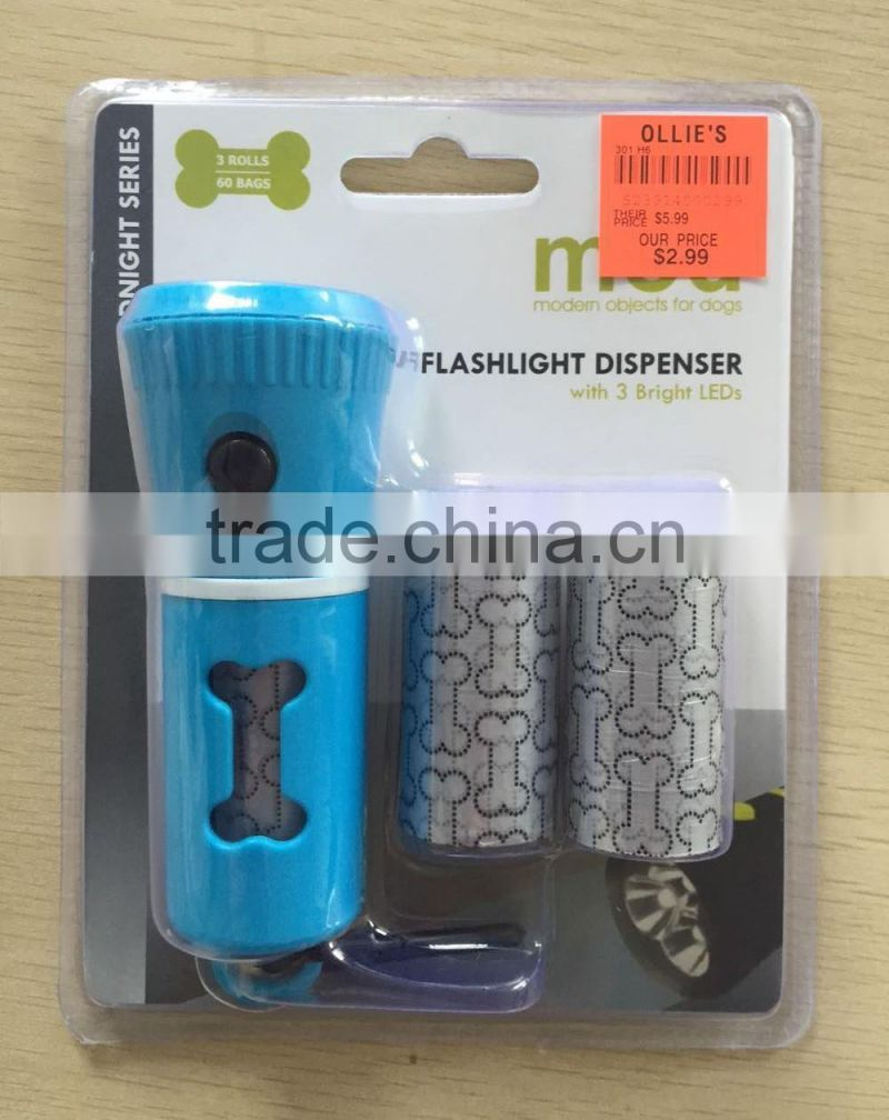 Pet plastic LED flashlight dispenser with pet waste bags