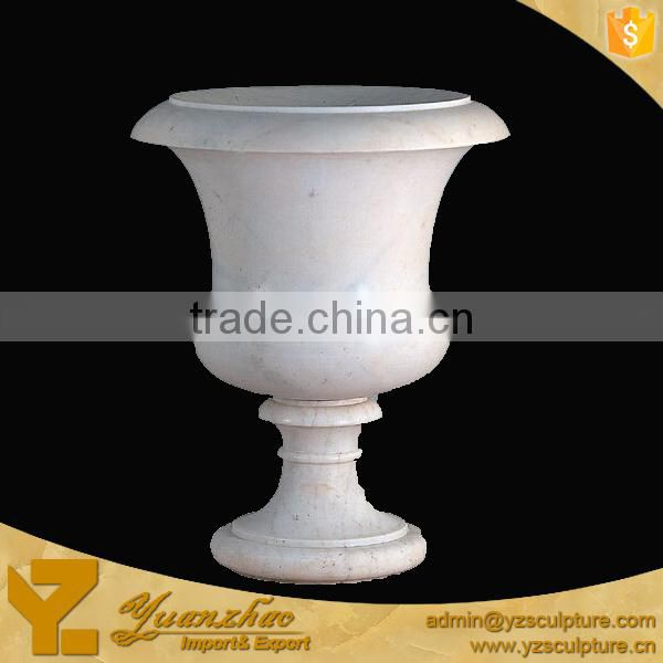 Outdoor Hand Carved White Stone Flowerpot Carving