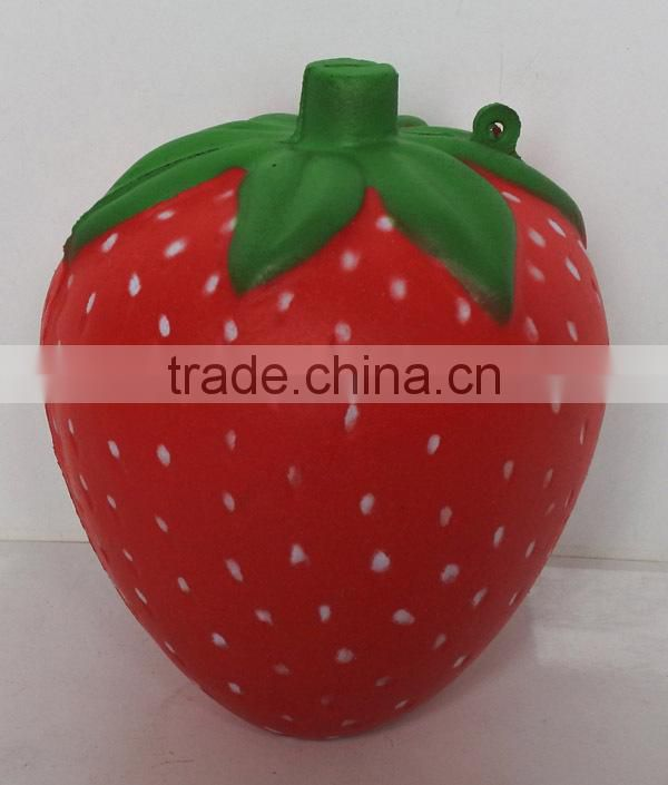Soft foam scented slow rising squishy PU strawberry stress toy