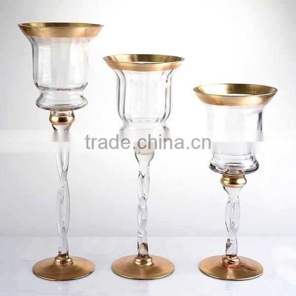 3-tier long-stem gold glass candle holder for christmas