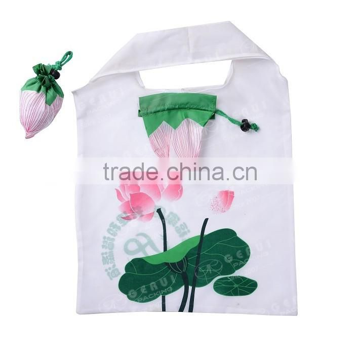 2016 OEM fancy design lotus flower shape polyester foldable tote bag