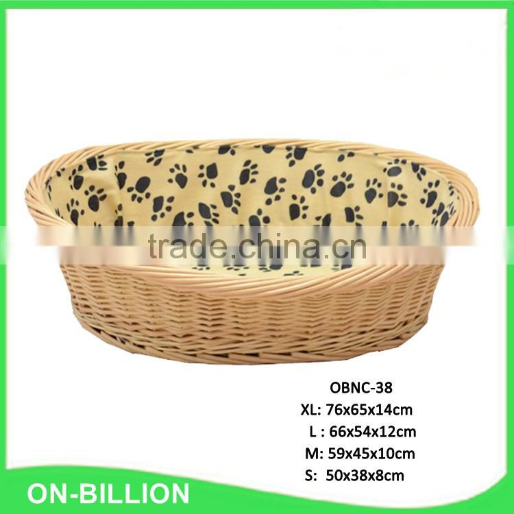 Large stackable cheap natural woven wicker pet bed