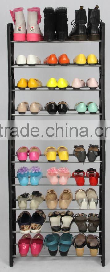 Wholesale 10 layers cheap stackable plastic shoe rack for 30 pair shoes